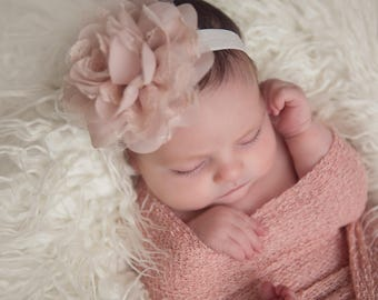 Blush Knit Wrap AND/OR Matching Blush Chiffon and Lace Flower Headband, photo shoots, newborn swaddle wrap, bebe foto, Lil Miss Sweet Pea