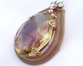 Vintage Juliana Givre Brooch Gold Tone Mesh Aurora Borealis Rhinestones 1960s Jewelry