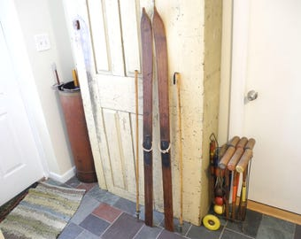 Vintage Wooden Shabby Ski's with poles. Home Decor Rustic Ski Lodge Skis and poles.  Lodge home decor. Primitive Skis and Poles