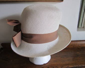 Fabulous Straw Ladies Bowler Hat. Cream and Brown Straw Hat Summer Bowler hat with Ribbon  Vintage Hat  Statement Hat