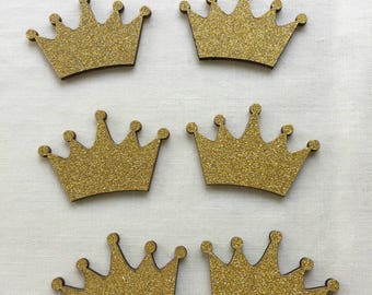 "Wood Golden Glitter Crown for Baby Shower, Party Favors, Cup Cake Topper, Prince or Princess Party, Embellishment, 1.5"" W x 7/8"" H, 10 pcs"
