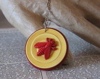 Handmade Vintage Bakelite Red Bee Stacked Pendant Necklace