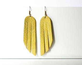 Leather Earrings / Fringe / Fresh Citrus