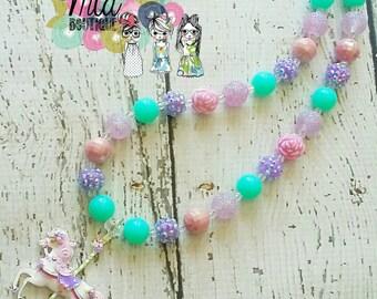 Carousel Horse Necklace, Boho Horse Necklace, Horse Necklace, Boho Necklace, Carousel Horse Pendant, 20mm Acrylic Beads, Boho Flowers