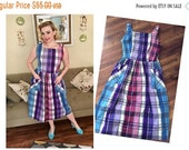 25% off RESERVED FOR LEA Berry Plaid 1940s Summer Dress