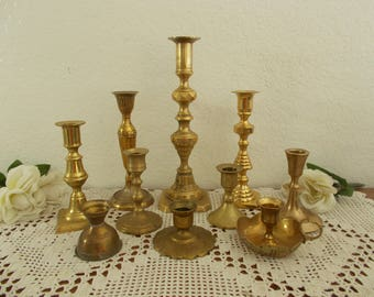 Vintage Brass Candle Holder Set Taper Candlestick Collection Mid Century Home Decor Rustic Shabby Chic Wedding Reception Table Decoration