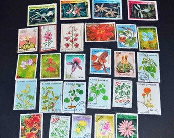 50 flowers and plants stamps from around the world B119