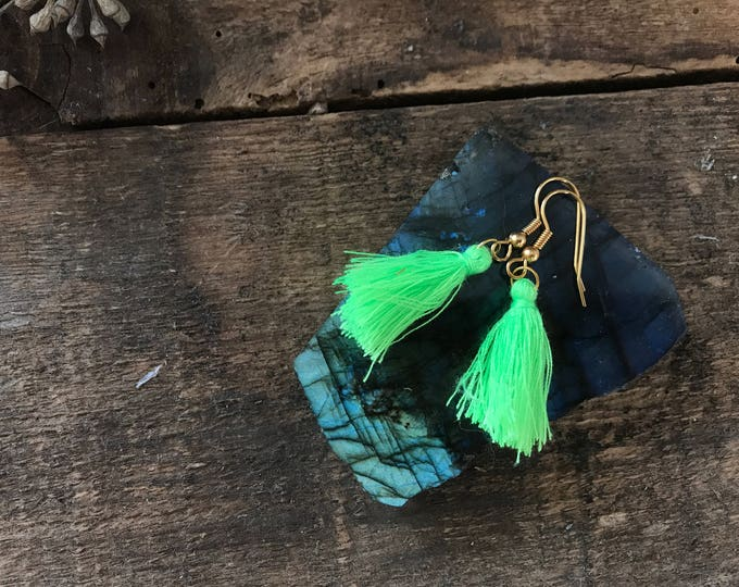 boho tassel earrings, neon highlighter lime green earrings, cotton jewelry, bohemian gifts for fall, jewelry for wife, fall jewelry trends