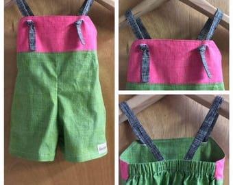 Infant Girls Cotton Summer Knot Jumper/Romper, size 18 months