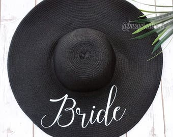 Bride Hat | BRIDE Floppy Hat | Bride to be hat | Floppy Hat Mrs | Floppy Sun Hat | Honeymoon Beach Hat | Beach Bride | Bride to Be Hat RF