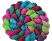 Hand dyed roving - Silk / Polwarth 40/60% wool roving - 4.1 ounces - Party Preparations 1