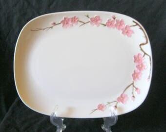 "Vintage METLOX Poppy Trail Peach Blossom 10"" x 13"" Curved Corner PLATTER Excellent Condition"
