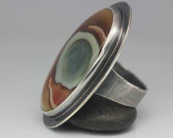 Polychrome Jasper Ring, Jasper & Sterling Ring, Boho Jasper Ring, Le Chien Noir, Unisex Ring, Size 9.25