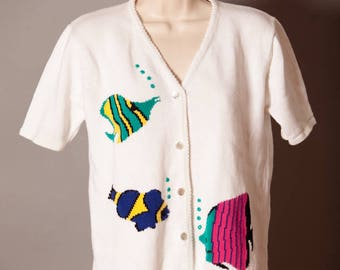 Vintage Short Sleeve Knit Top Tropical Fish - Patchington - Small