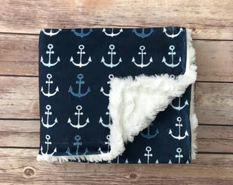 Infant Baby Blanket - Anchor Baby Blanket - Nautical Baby Nursery - Car Seat Blanket - Nautical Baby Bedding - Nautical Baby Shower - Boy