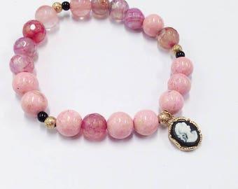 Pink kawaii bracelet cameo charm pink cute gift for her bracelet pink and black present elastic beaded bracelet