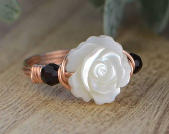 Mother of Pearl Flower and Any Two Birthstones Ring-Sterling Silver, Yellow or Rose Gold Filled Wire Wrapped-Size 4 5 6 7 8 9 10 11 12 13 14