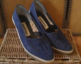 70s Navy blue canvas wedge sandals by Renoma Paris