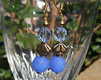 Bead Blue and Gold Glass Earring