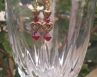 bead gold hearts earrings