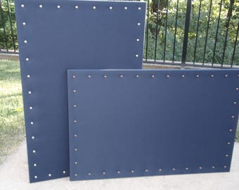 "PinBoard Corkboard Custom Cork Bulletin Message Pin Dream Board 23""x35"" size, Navy Blue Solid Fabric with Your Choice of Nail Head Tack Trim"