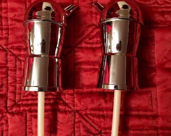 Set of 2 Vintage Chrome Liquor Bottle Pourers Spouts Stoppers