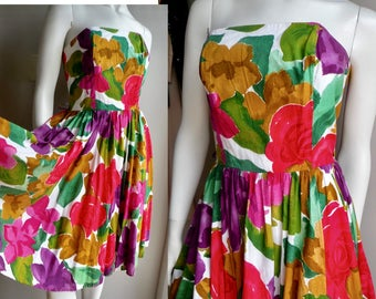 80s Cotton Rayon Floral Circle Skirt Summer Sun Strapless Dress - M