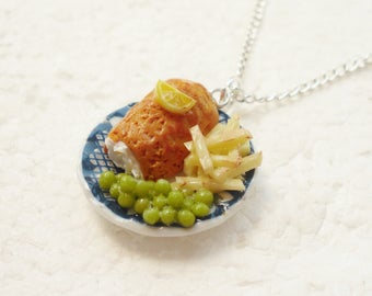 Fish And Chips Pendant. Polymer Clay.