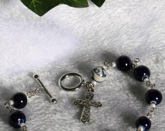 Cobalt Blue and Ceramic Rosary Bracelet  B-120