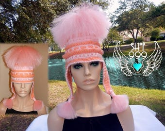 BRIT PUNK synthetic hair pony tail in salmon crochet hat with ear flap pig tails, pony tail hat, crochet hair hat, ski bling