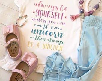 Unicorn Themed Ruffle Tee - Birthday Shirt - T shirt - Party - Unicorn themed items - Rainbow shirt