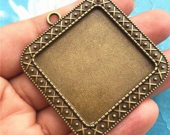 Large--10pc 42mm tibetan sBronze cabochon/cameo square base setting pendants blanks--fit 30x30mm cabochons