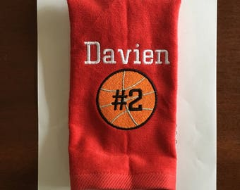 Personalized sport towels, track and field, cheer, baseball, softball, football sport towel in two size choices any color