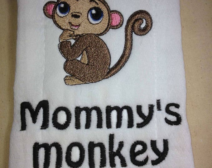 Personalized baby monkey burp cloth personalized burp cloth personalized baby baby shower gift negle