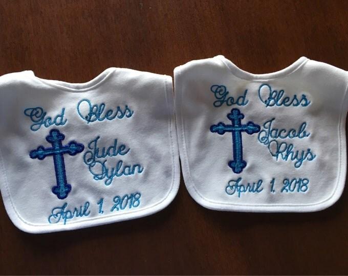 Baptism bib, Personalized baby bib, Christening, Baptism, baby gift, any thread color, white bib