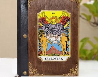 Embroidered art, leather book, poetry book, tarot card, tarot art, fortune teller, illustration journal, tarot print,The lovers tarot