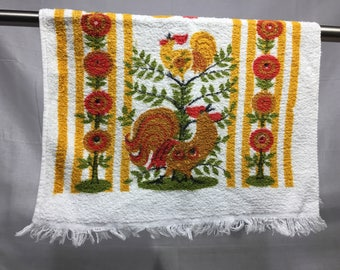 Vintage rooster kitchen towel, retro, red, gold, yellow, and green, hand towel, retro towel, 70's retro kitchen towel, Terries by Simtex,