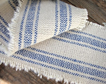 Natural and Blue Linen Ticking Stripe Ribbon Trim