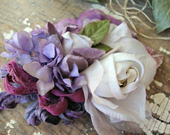 Antique Vintage Velvet Millinery Flowers Posy - #108
