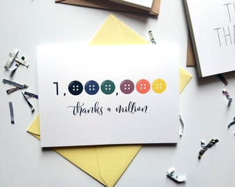 Thanks a Million Button Thank You Card with Matching Yellow Envelope