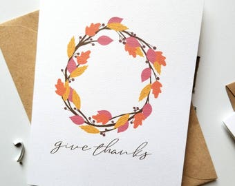Give Thanks Autumn Wreath Button Thank You Card with Matching Kraft Envelope