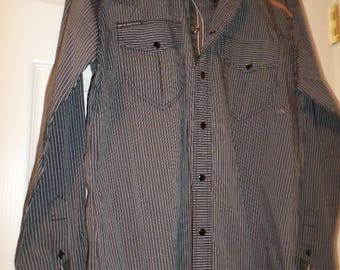 90 s Men's Shirt  Ribbon Snaps Fathers Day Gift Black / Gray Stripe Not of this world