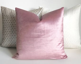 Lilac pink velvet decorative pillow cover, accent pillow, solid blue green velvet throw pillow