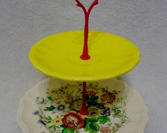 Vintage China Dessert Stand, China Plate Stand, Tiered China Stand