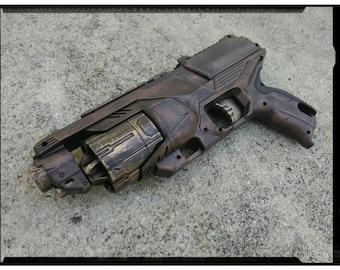 NEW Nerf RUBBERIZED Pistol Grip N-Strike Elite Disruptor - Apocalyptic, Zombie, Vampire, Cosplay, Steampunk Gun - (S.Copper/Ant.Gold)