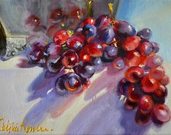 Art Print of BOLANDSE DRUIWE, grapes, silwer urn, classic still life