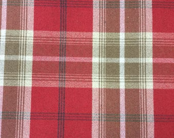 Porter And Stone Balmoral wool effect tartan fabric in red
