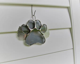 """Stained Glass Paw Print """"Paws To Remember"""" Angel - Gray Seedy Glass  Memorial Marker - Customizable Hand Stamped Name Tag"""
