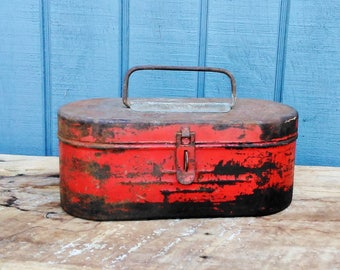 Red Tool Box - Metal Red Box - Road Flare Box - Garage Storage - Home Decor - Oval Metal Storage