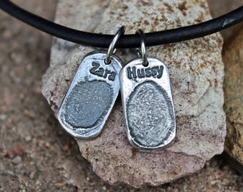 Fingerprint Charm with name, Child's fingerprint charm, Gift for Dad, Gift for Father, Kids Fingerprints and name, Name and Fingerprint Gift